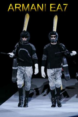 2009年,阿玛尼在米兰时装周上呈现了阿玛尼EA7滑雪自行车专场,出席的有:大卫贝克汉姆,乔治奥阿玛尼和Bernd Brenter。  图为2009年1月米兰 阿玛尼时装秀