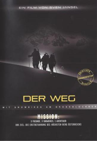 """2010年4月,Harald Brenter, Florian Schwarzenbacher和Wolfgang Jast首次登陆大格洛克纳山进行滑雪自行车系列片""""DER WEG"""" 的拍摄。"""